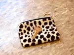 House key and leopard-print coin purse