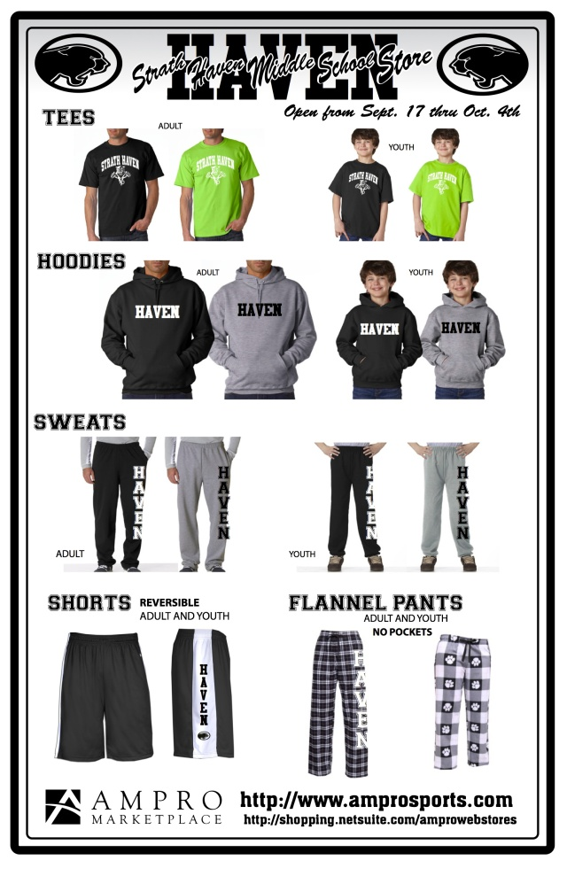 Spirit Wear sale items for SHMS 2012 Fall