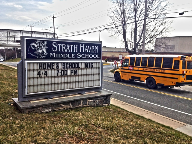 Sign in front of Strath Haven Middle School