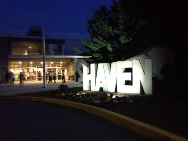 Strath Haven Middle School at night